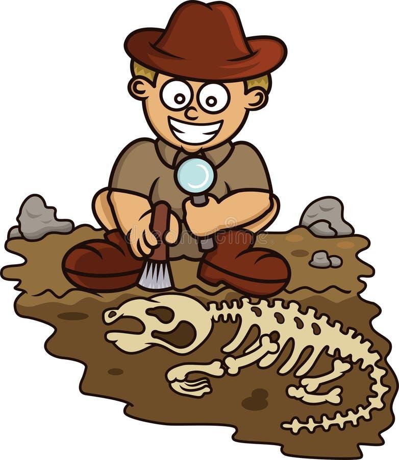 Ung arkeologDiscovering Fossil Cartoon illustration royaltyfri foto
