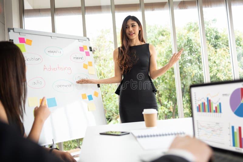 Ung asiatisk affärskvinna som ger presentation i ett möte på th fotografering för bildbyråer