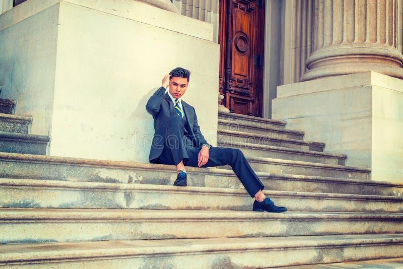 Ung asiatisk amerikansk affärsman i New York royaltyfri foto