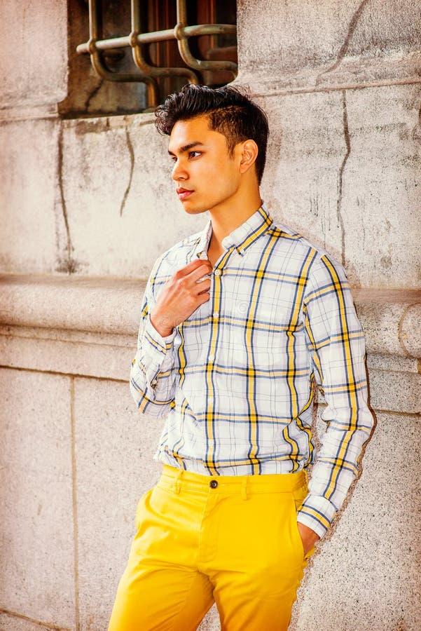 Ung asiatisk amerikansk man i New York arkivbilder