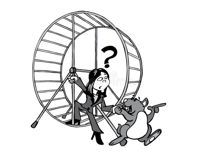 Ung asiatisk kvinna som kliver ut ur hamsterhjulet stock illustrationer