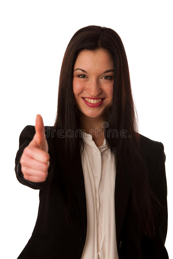 Ung asiatisk tumme för visning för affärskvinna som gör en gest upp framgång - royaltyfri bild
