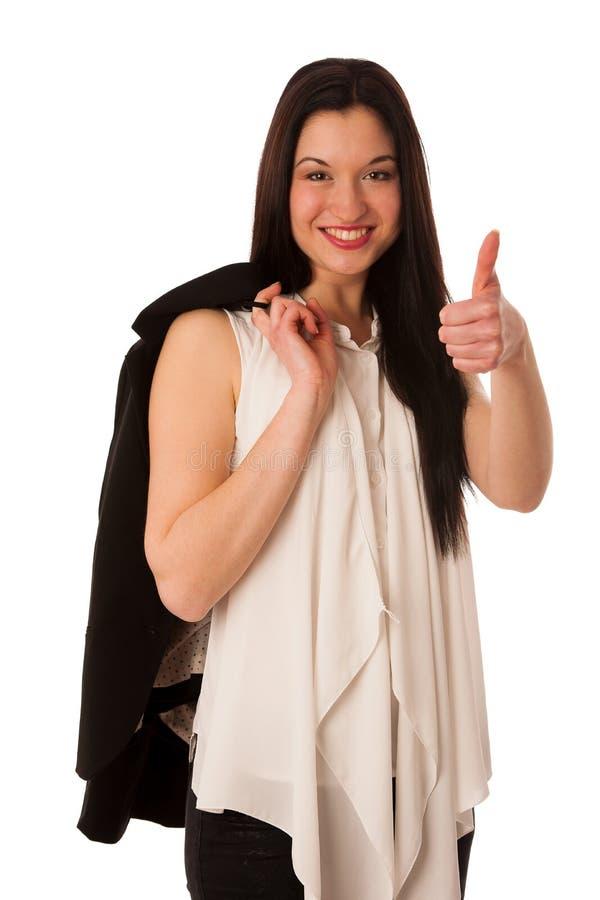 Ung asiatisk tumme för visning för affärskvinna som gör en gest upp framgång - royaltyfria foton