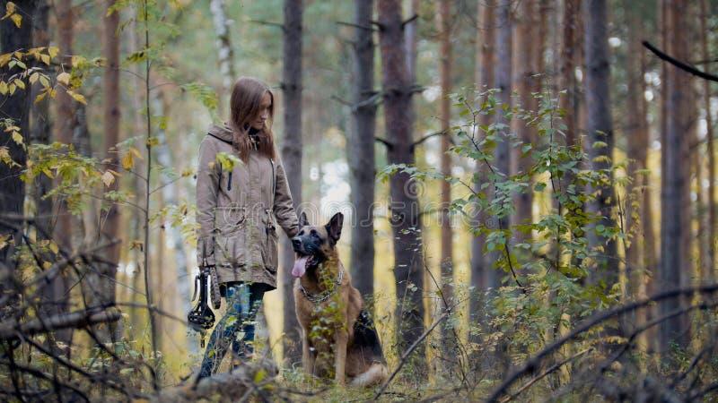 Ung attraktiv flicka och hennes husdjur - tysk herde - som går på en höstskog royaltyfri bild