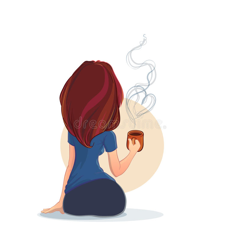 Ung attraktiv kvinna med en kopp kaffe eller ett te stock illustrationer