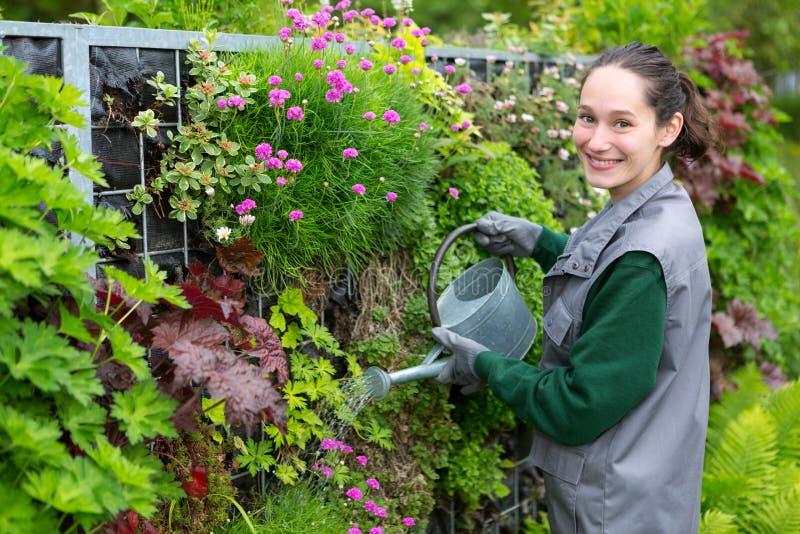 Ung attraktiv kvinna som arbetar i en offentlig trädgård som bevattnar flowe royaltyfria bilder