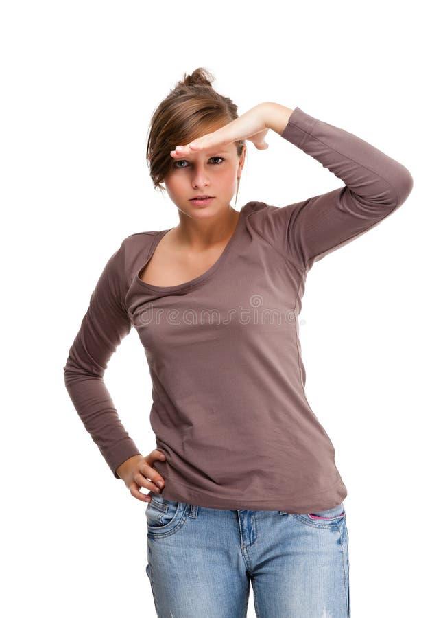 Ung kvinna som isoleras på vitbakgrund royaltyfri foto