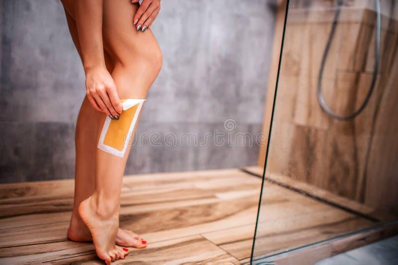 Ung attraktiv sexig kvinna i dusch naken huvuddel Klipp sikten av handen som gör epilation på benet Självomsorg och skincare arkivbild