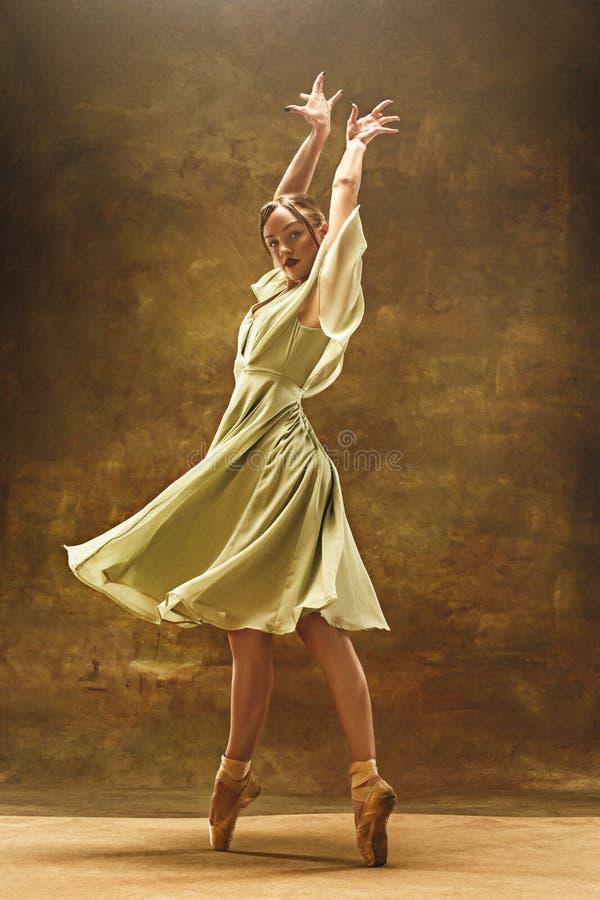 Ung balettdansör - den harmoniska nätta kvinnan med ballerinakjolen som poserar i studio - arkivbild