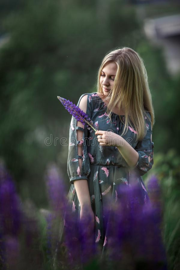 Ung blond flicka med långt hår som ligger i gräset arkivfoton