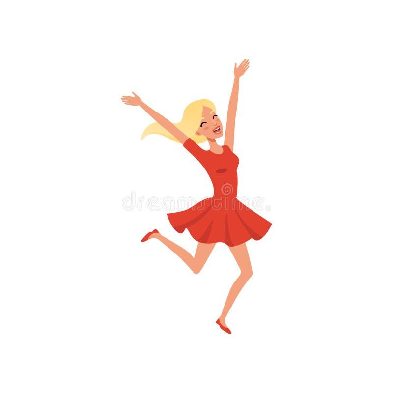 Ung blond flicka som hoppar upp med spänning Emotionell person Tecknad filmtecken av kvinnan med lyckligt framsidauttryck vektor illustrationer