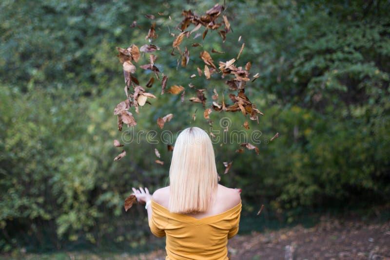 Ung blond kvinna bakifrån, med fallande sidor i skogen fotografering för bildbyråer