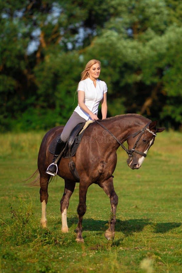 Ung blond kvinna med den långa hårjockeyryttaren som hoppar på en fjärdhäst arkivbild