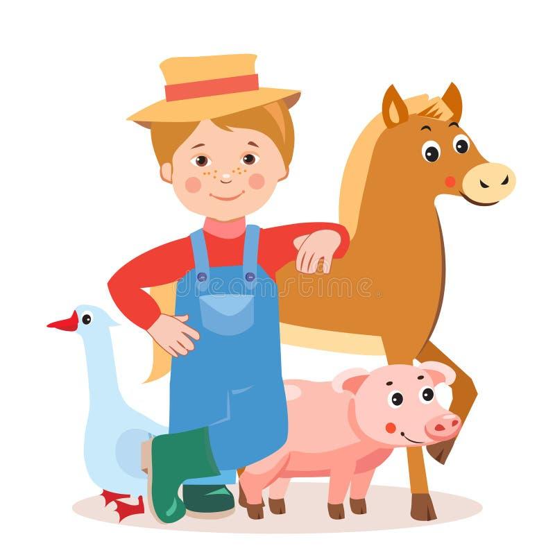 Ung bonde With Farm Animals: Häst svin, gås Tecknad filmvektorillustration på en vit bakgrund vektor illustrationer