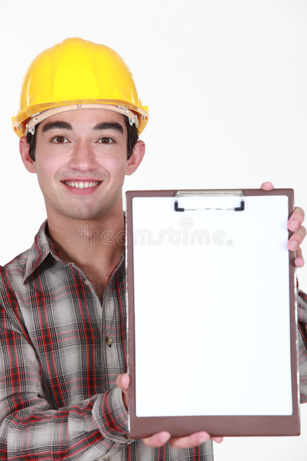 Ung byggnadsarbetare arkivbild