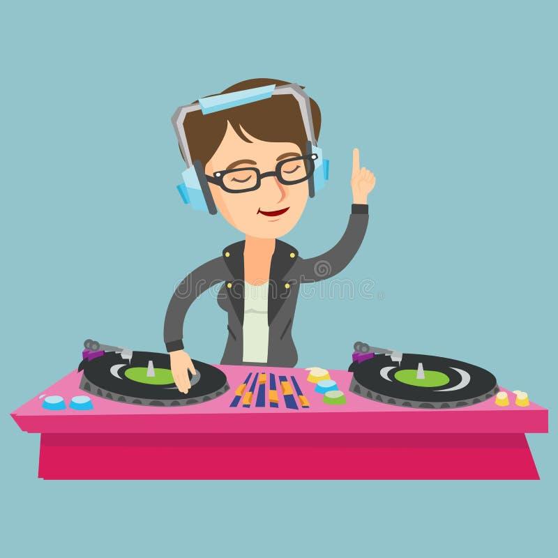 Ung caucasian discjockey som blandar musik på skivtallrikar vektor illustrationer