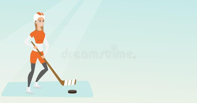 Ung caucasian ishockeyspelare royaltyfri illustrationer