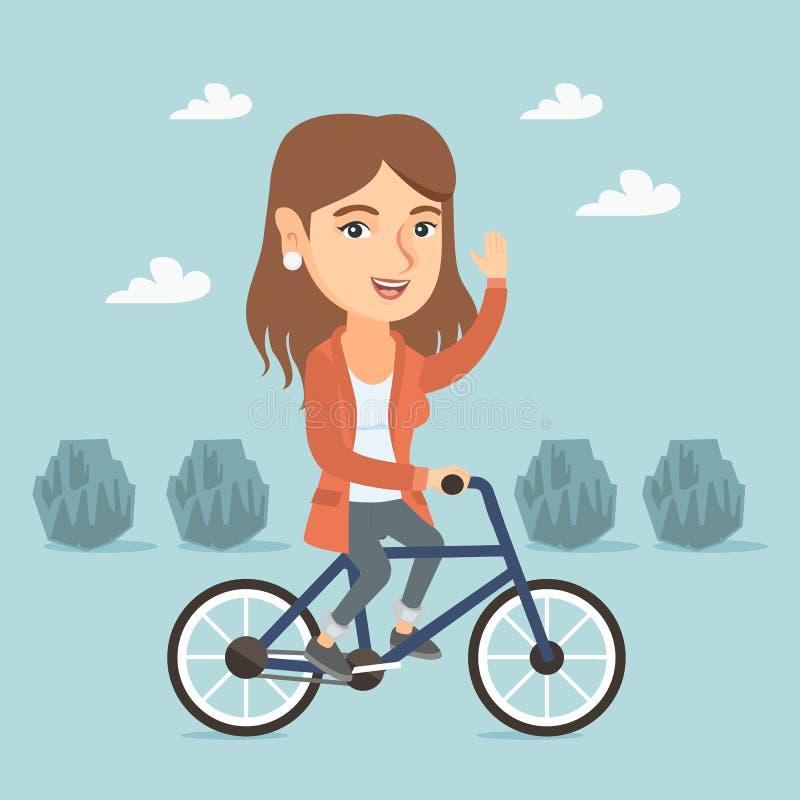 Ung caucasian kvinnaridningcykel i parkera royaltyfri illustrationer