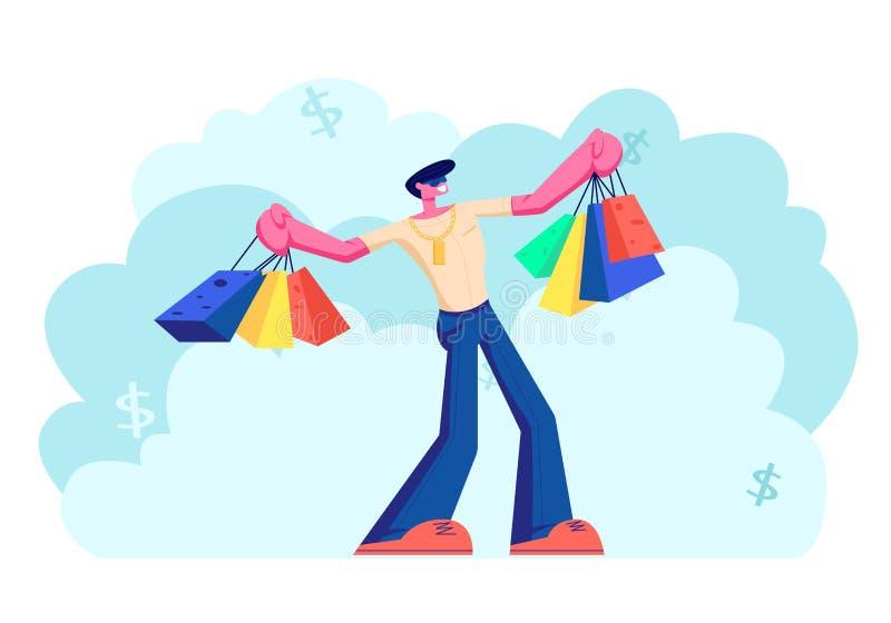 Ung Caucasian man som rymmer färgrika shoppa påsar Manligt tecken som har roligt, medan göra shopping Säsongsbetonade Sale, rabat stock illustrationer