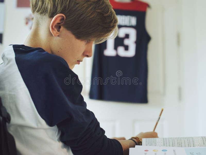 Ung caucasian pojke som gör läxa royaltyfri foto