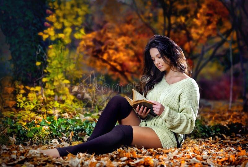 Ung caucasian sinnlig kvinna som läser en bok i ett romantiskt höstlandskap. Stående av den nätta unga flickan i höstlig skog arkivbild