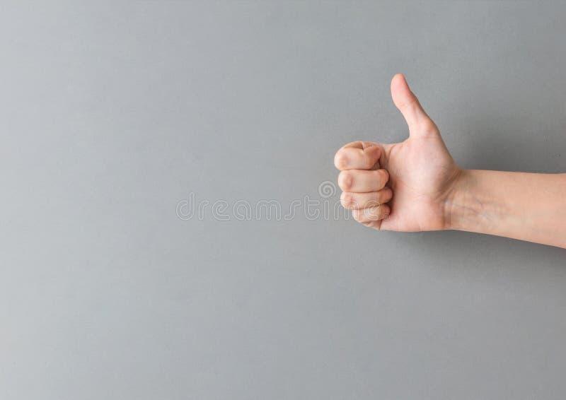 Ung Caucasian sträckt kvinnahand visa tummen upp gest på grå väggbakgrund Tillfredsställelse för godkännandeframgångpositivity royaltyfria bilder