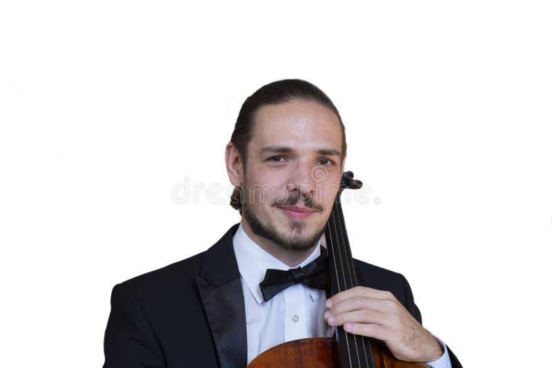 Ung cellist som spelar den violoncell isolerade bilden på vit bakgrund royaltyfria bilder