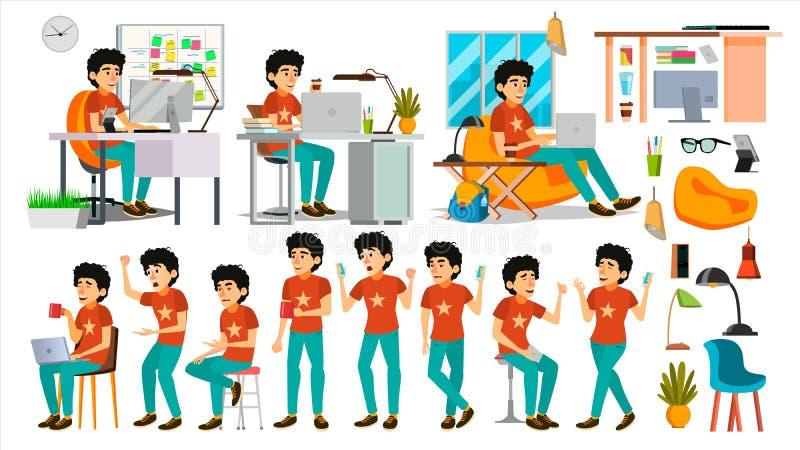 Ung Coderteckenvektor Rengöringsdukbärare Programming Kodifiera programvaruutveckling Javascript It-startaffär royaltyfri illustrationer