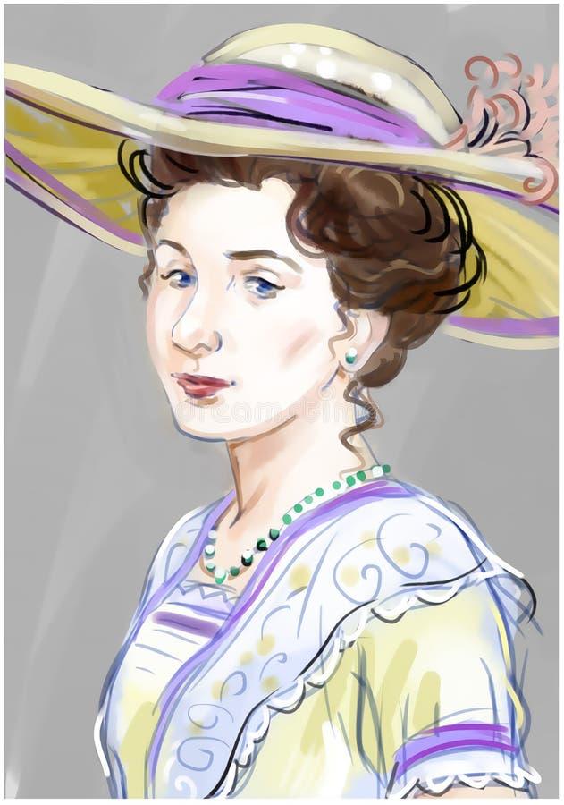 Ung dam i konstnärlig målning för hatt royaltyfri illustrationer