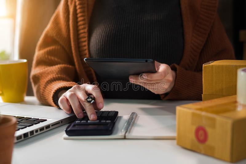 Ung entrepren?rkvinna som hemma arbetar om online-aff?r arkivfoton