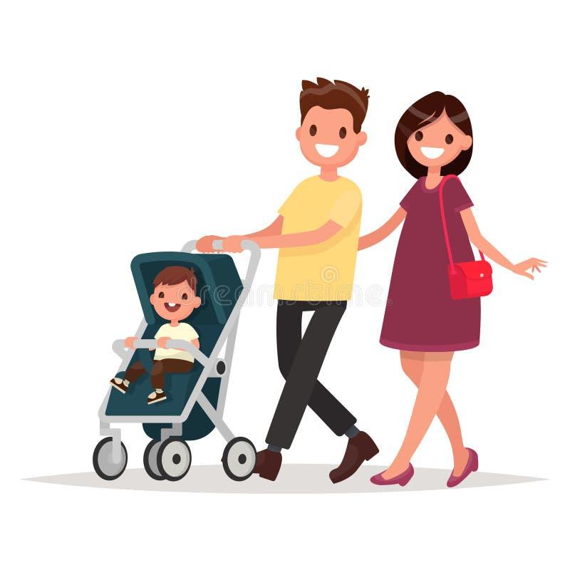 Ung familj Föräldrar med ett litet barn Mamman och farsan går wi vektor illustrationer