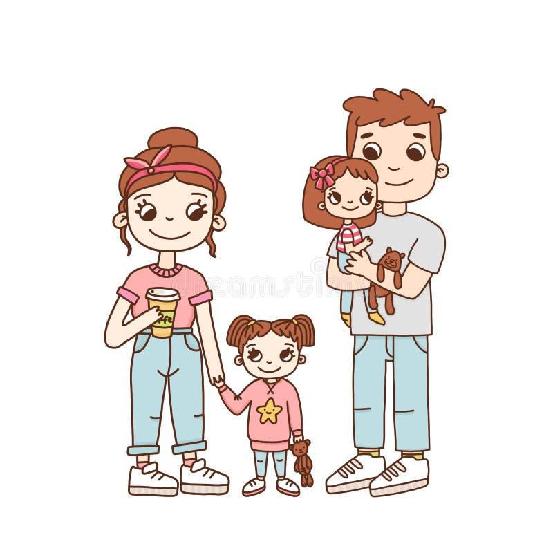 Ung familj, mamma, farsa och två döttrar royaltyfri illustrationer