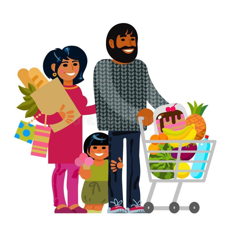 Ung familj med shoppingpåsar och spårvagnvagnen Plana tecken för tecknad film vektor illustrationer