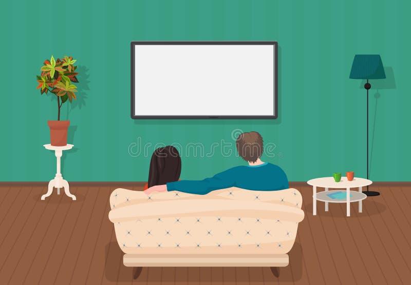 Ung familjman och kvinnor som håller ögonen på TV att programmera tillsammans i vardagsrummet också vektor för coreldrawillustrat royaltyfri illustrationer
