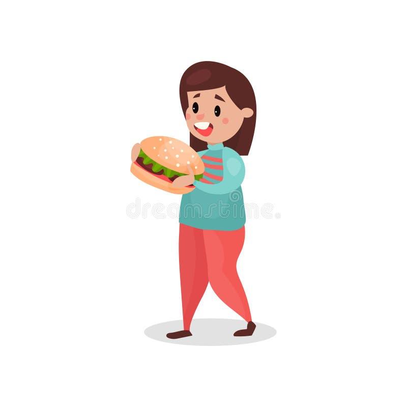 Ung fet kvinna som äter den jätte- hamburgaren, skadlig vana och illustrationen för böjelsetecknad filmvektor stock illustrationer