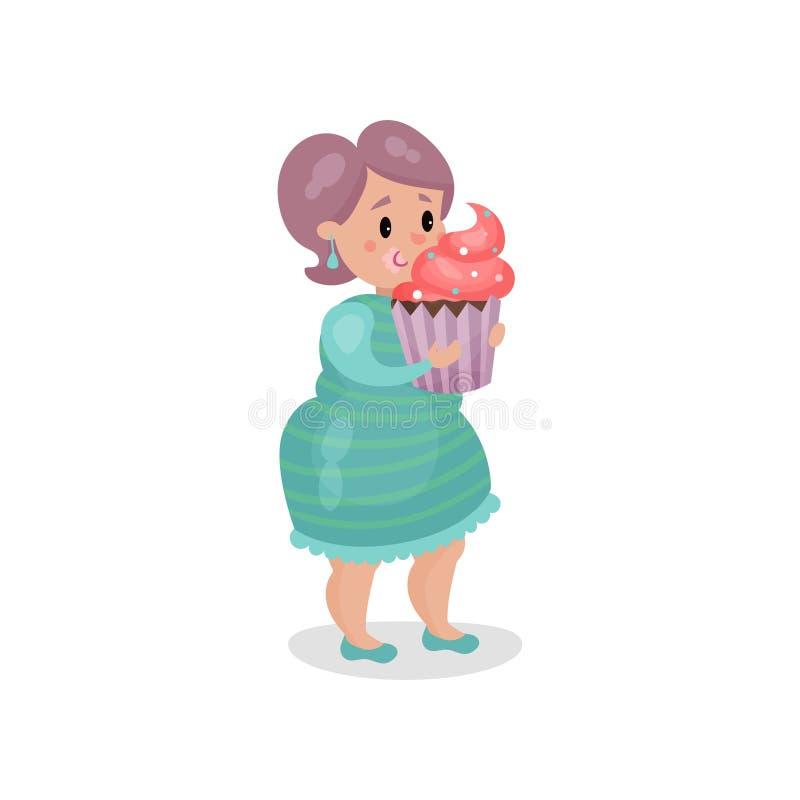 Ung fet kvinna som äter den jätte- muffin, skadlig vana och illustrationen för böjelsetecknad filmvektor stock illustrationer