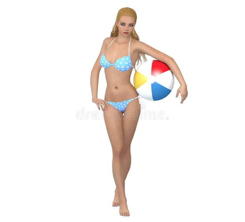Ung flicka i bikini med bollen royaltyfri illustrationer