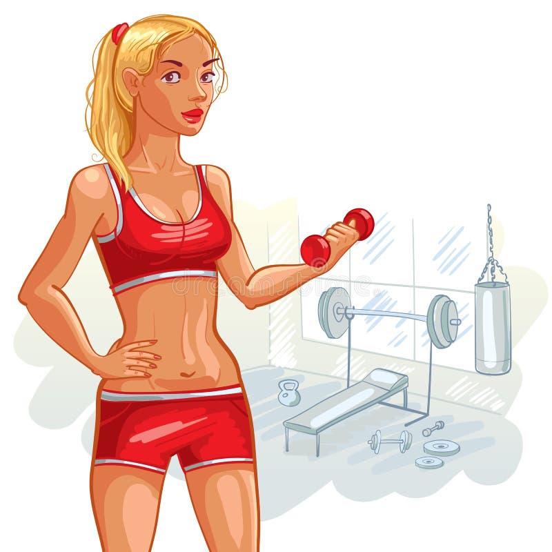 Ung flicka i idrottshallen vektor illustrationer