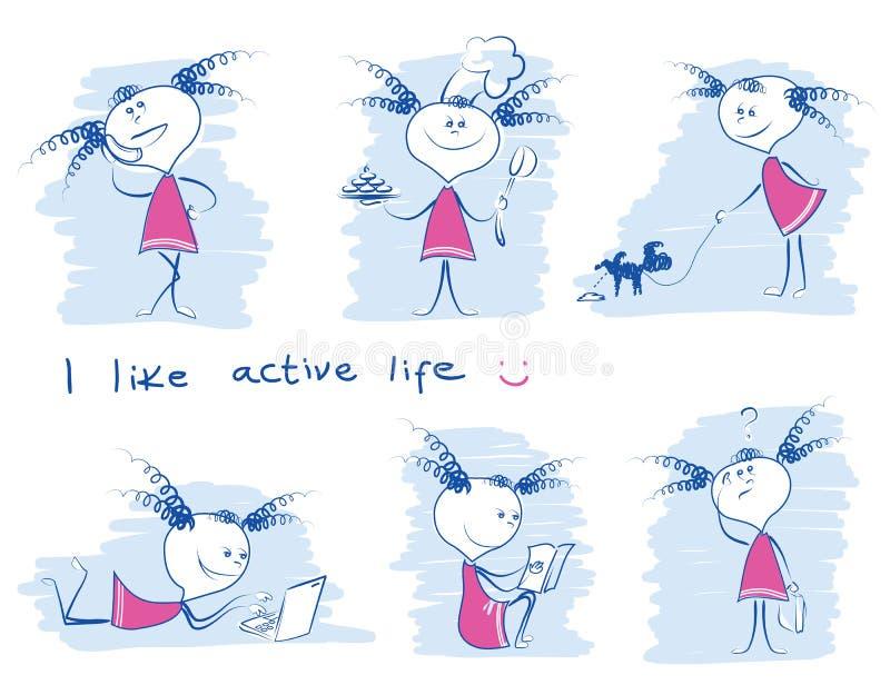 Ung flicka i variouselivsstil Illustr för attraktion för vektorklotterhand stock illustrationer