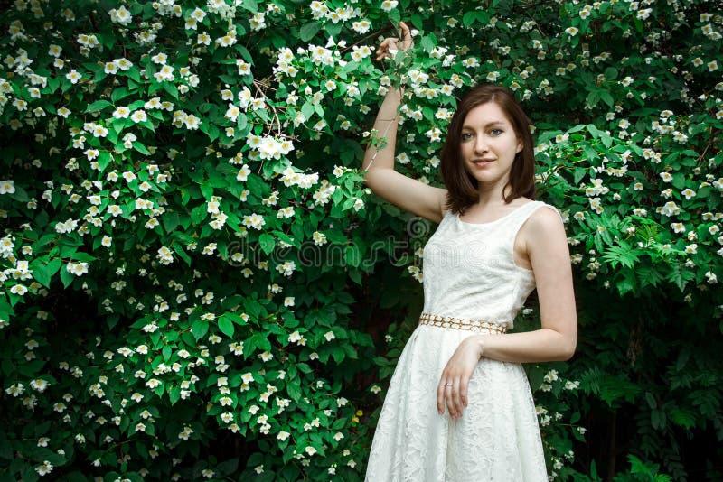 Ung flicka med en jasmin royaltyfri fotografi