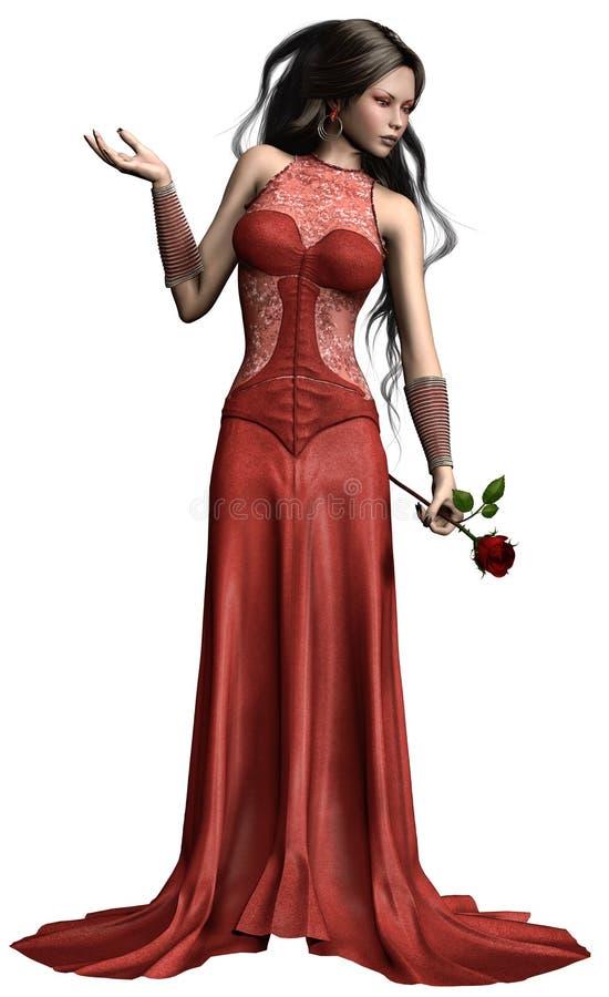 Ung flicka med en ros stock illustrationer