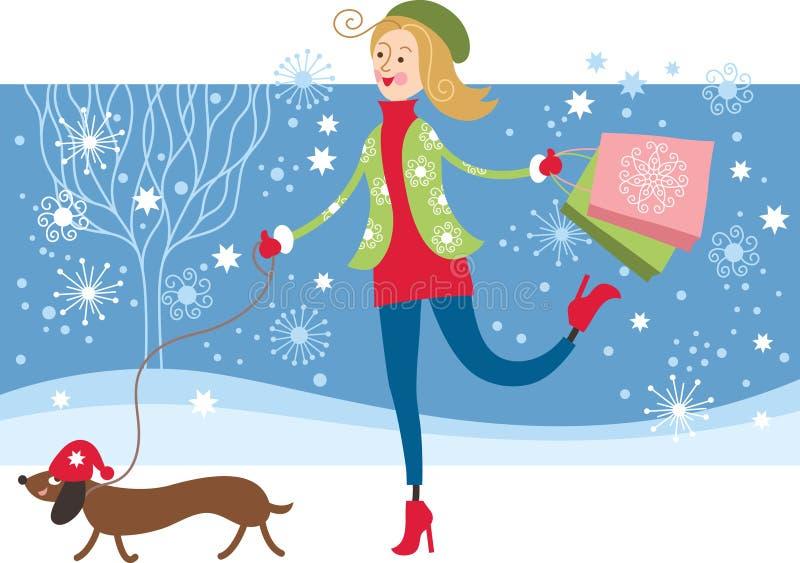 Ung flicka med hunden stock illustrationer