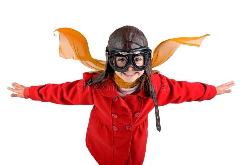 Pilot- flicka royaltyfri fotografi