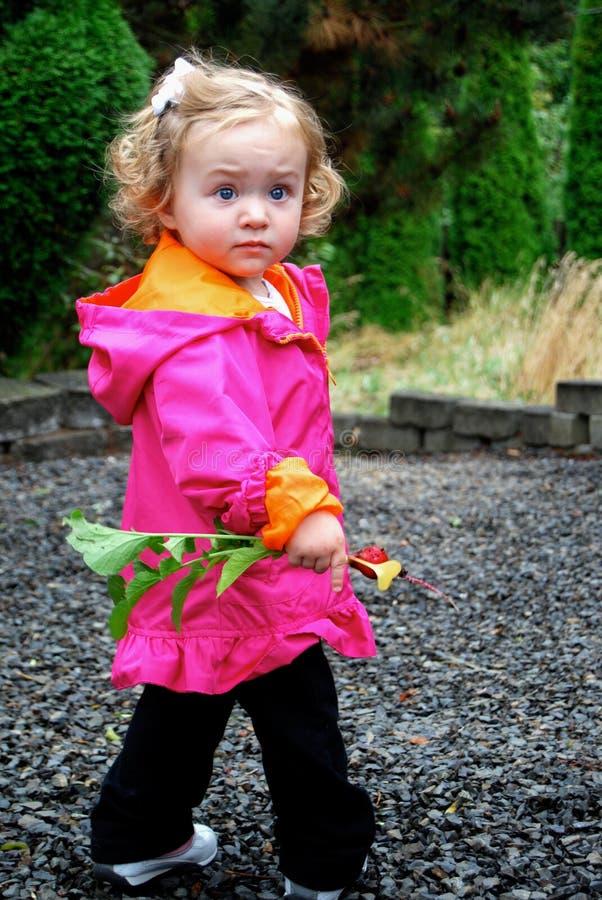 Ung flicka med rädisan royaltyfri fotografi