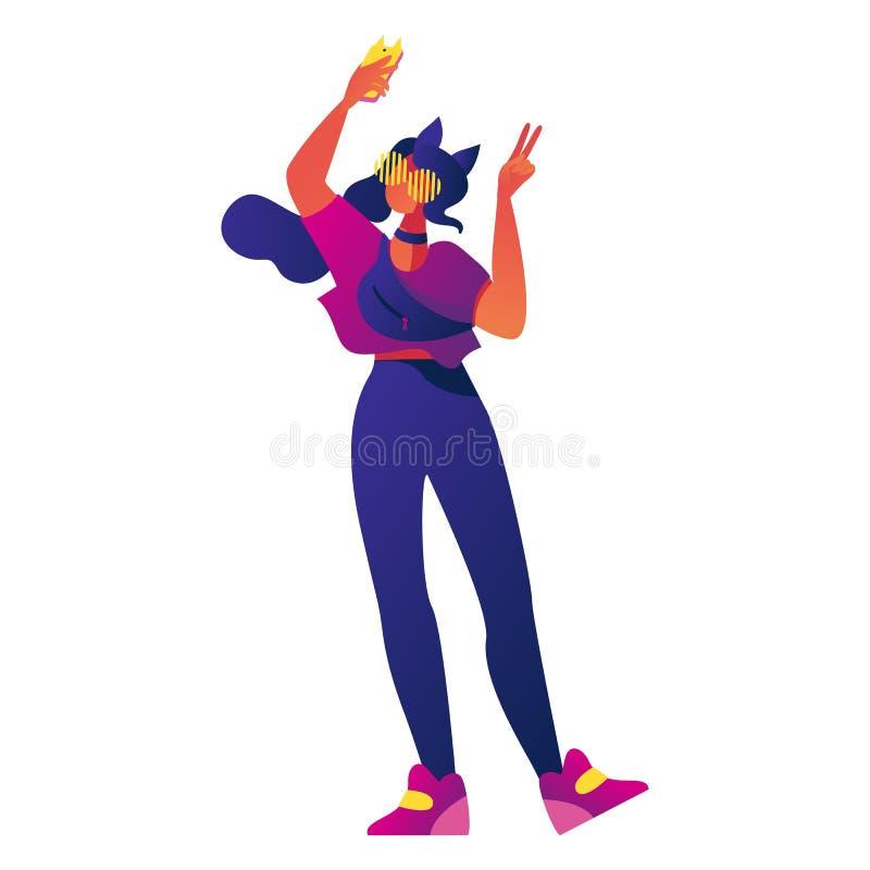 Ung flicka, millenial tonåring eller tecken för utveckling som z gör selfie med kattöron och höftsäcken Isolerat på vitt modernt stock illustrationer