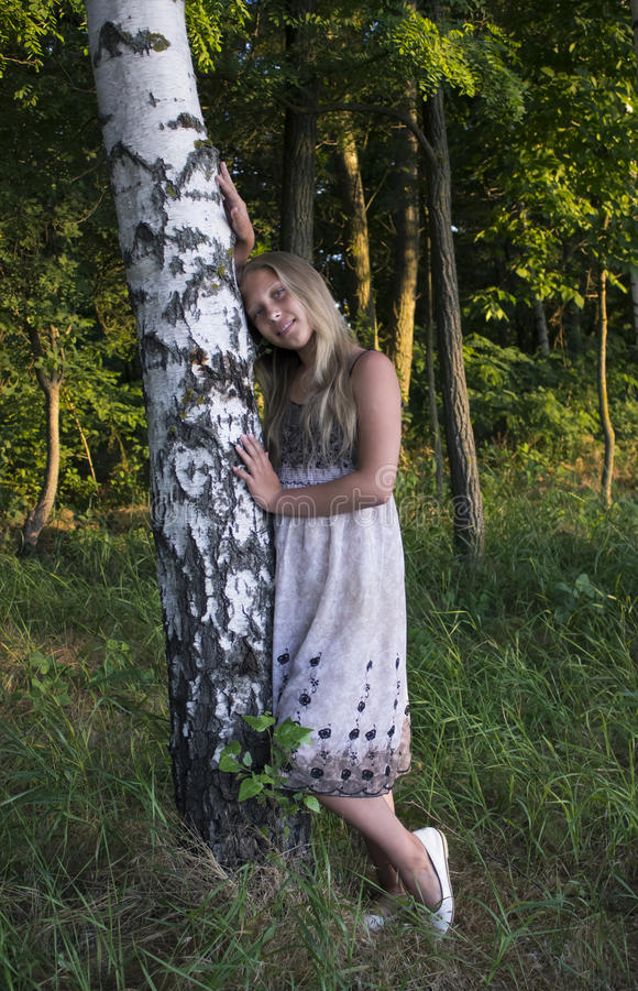 Ung flicka nära björken i en härlig klänning arkivfoton