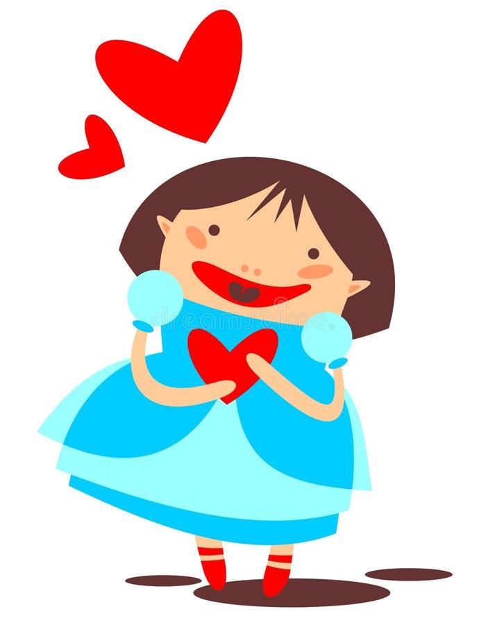 Ung flicka och hjärta royaltyfri illustrationer