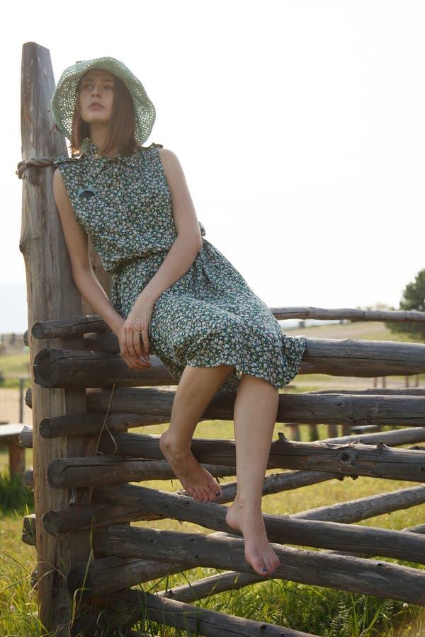 Ung flicka på det wood staketet arkivbild
