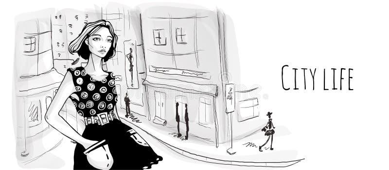 Ung flicka på gatan av den gamla staden Vektorståendeillustrationen skissar in stil vektor illustrationer
