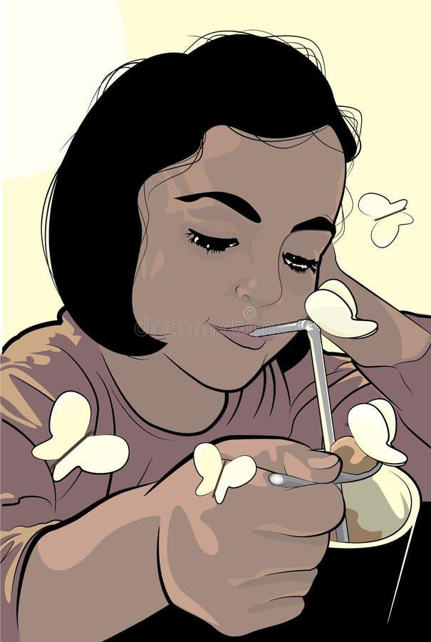 Ung flicka som äter frukosten med fjärilar vektor illustrationer